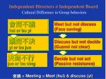 independent directors independent board cultural difference in group behaviors