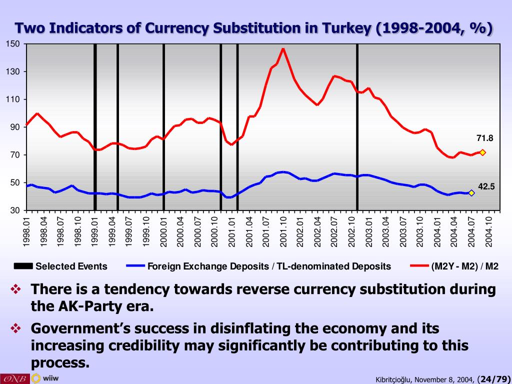 Two Indicators of Currency Substitution in Turkey (1998-2004, %)