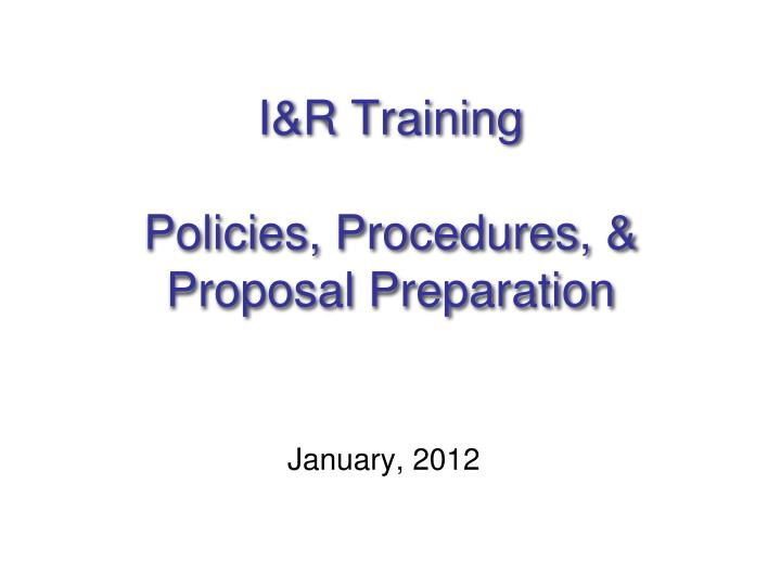 i r training policies procedures proposal preparation n.