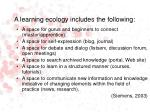 a learning ecology includes the following