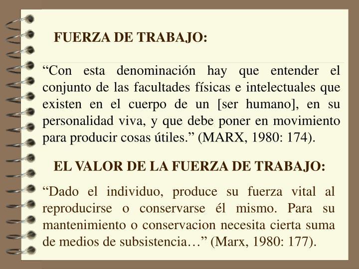 FUERZA DE TRABAJO: