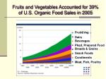 fruits and vegetables accounted for 39 of u s organic food sales in 2005