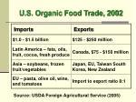 u s organic food trade 2002