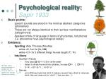 psychological reality sapir 1933