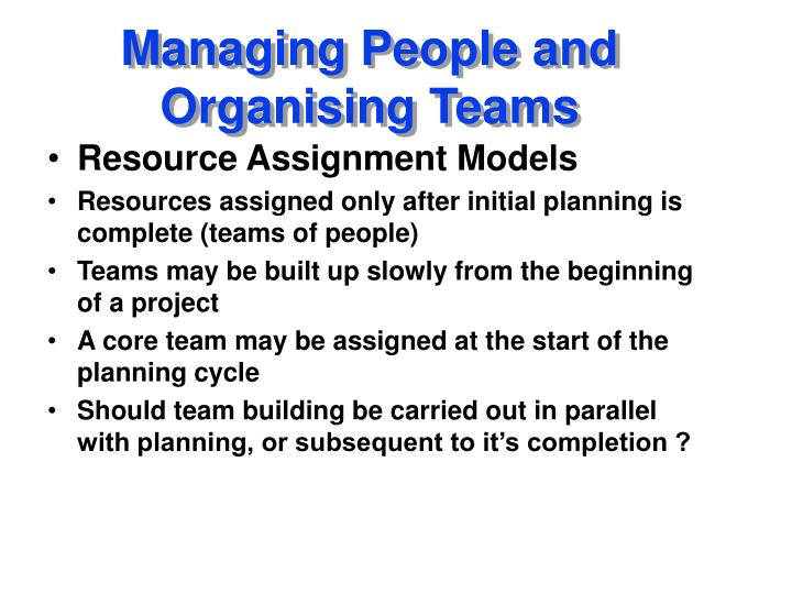 managing people and organising teams n.