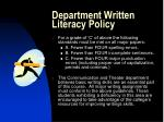 department written literacy policy
