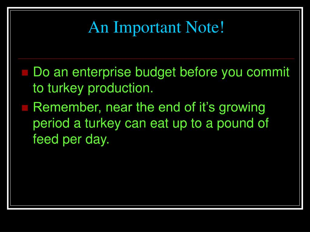 An Important Note!