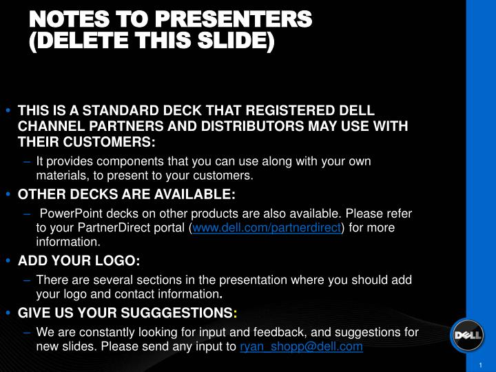 Notes to presenters delete this slide