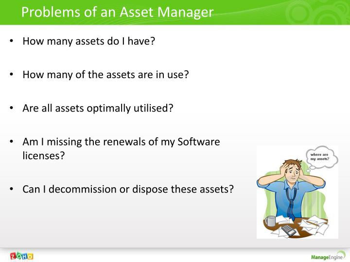 Problems of an asset manager