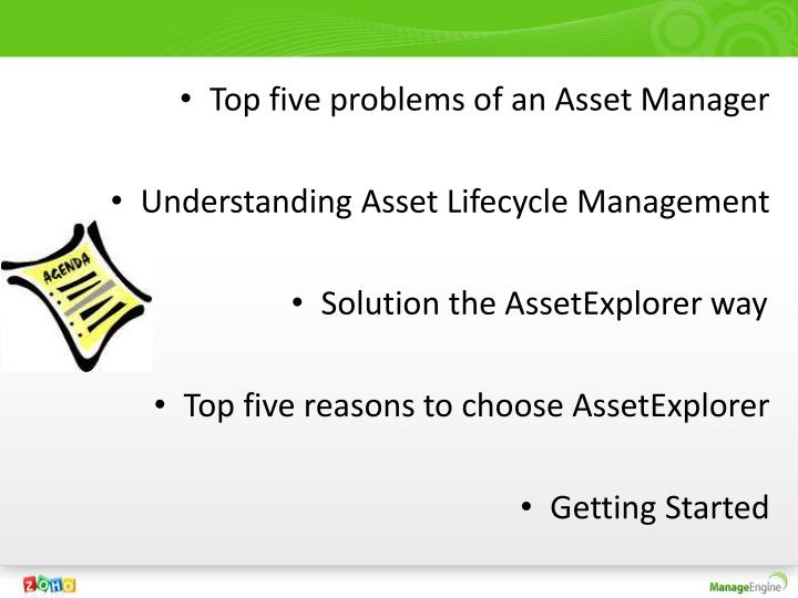 Top five problems of an Asset Manager