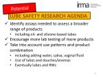 lube safety research agenda