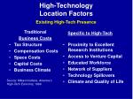 high technology location factors