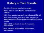 history of tech transfer