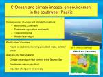 c ocean and climate impacts on environment in the southwest pacific