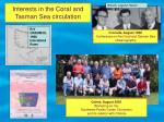 interests in the coral and tasman sea circulation