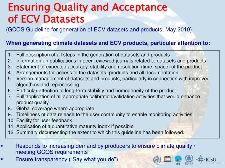 Ensuring Quality and Acceptance of ECV Datasets