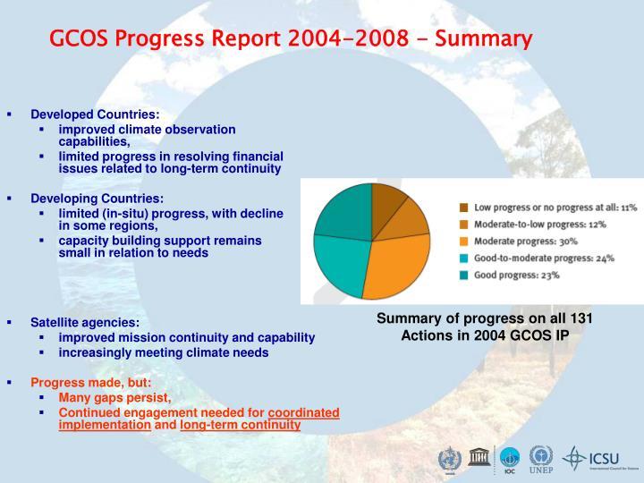 GCOS Progress Report 2004-2008 - Summary