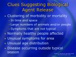 clues suggesting biological agent release