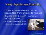 many agents are zoonotic