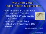 west nile virus public health significance
