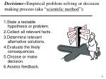 decisions empirical problem solving or decision making process aka scientific method