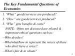 the key fundamental questions of economics