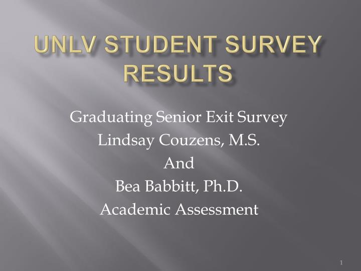 unlv student survey results n.