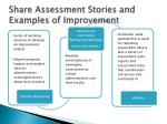 share assessment stories and examples of improvement