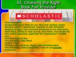 iii choosing the right book fair provider