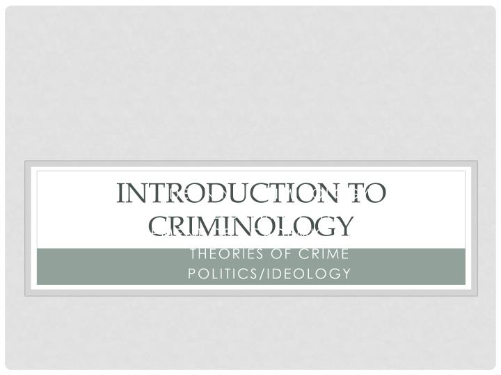introduction to criminology n.
