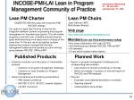 incose pmi lai lean in program management community of practice