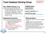 tools database working group