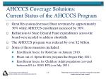 ahcccs coverage solutions current status of the ahcccs program
