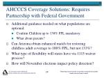 ahcccs coverage solutions requires partnership with federal government