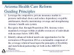 arizona health care reform guiding principles