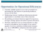 opportunities for operational efficiencies