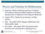 process and timeline for deliberations