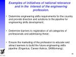 examples of initiatives of national relevance and in the interest of the engineering profession