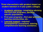 three interventions with greatest impact on student retention in 4 year public colleges