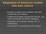 adaptation of american models into own culture