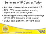 summary of ip centrex today