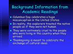 background information from academic readings