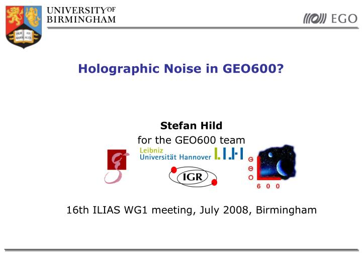 holographic noise in geo600 n.