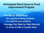 anticipated bond issue to fund improvement program
