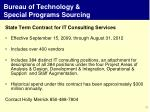 bureau of technology special programs sourcing