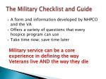 the military checklist and guide