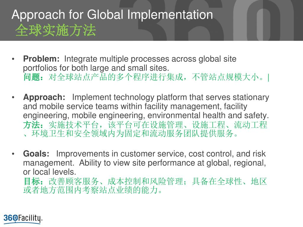 Approach for Global Implementation