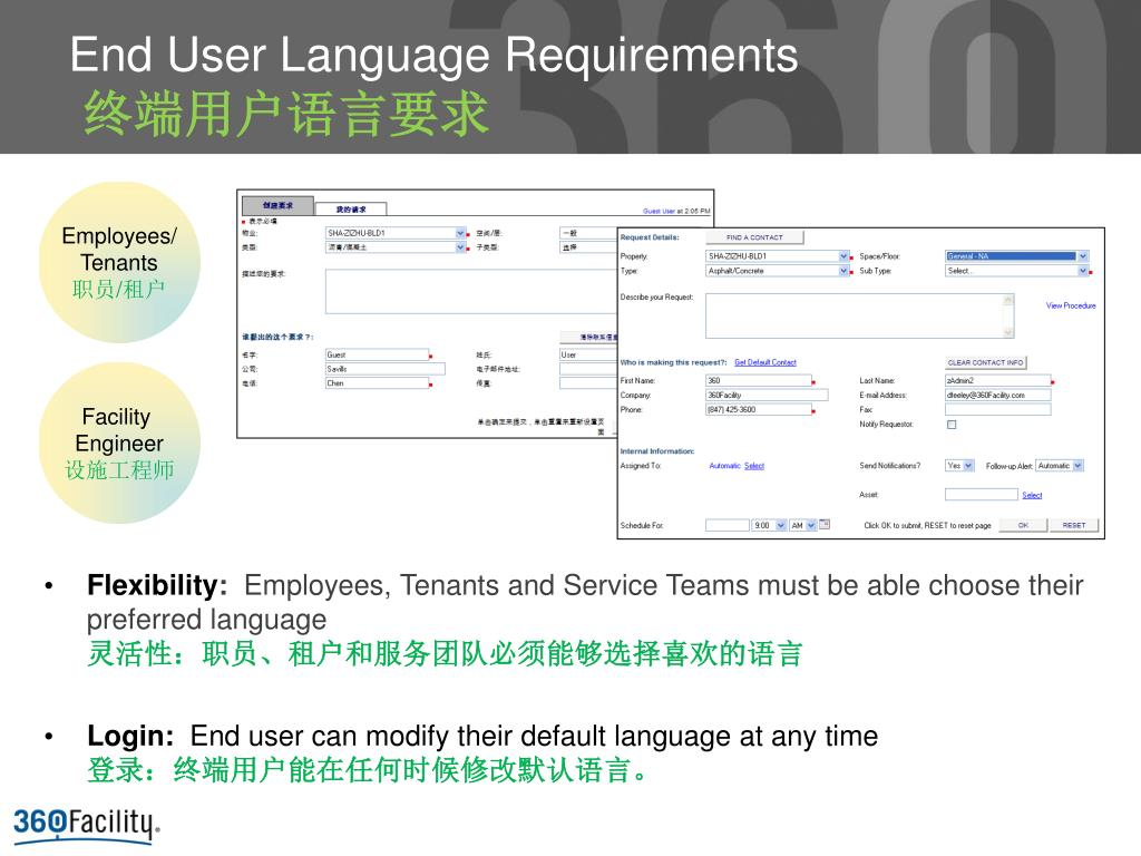 End User Language Requirements