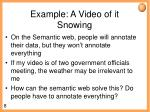 example a video of it snowing