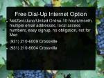 free dial up internet option